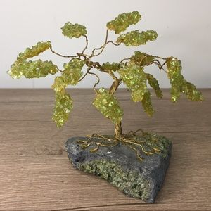 Vintage Wire And Acrylic Bonsai Tree On Stone Base
